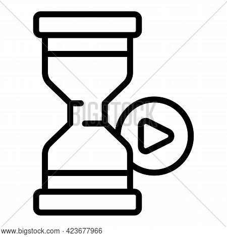 Hourglass Internet Icon. Outline Hourglass Internet Vector Icon For Web Design Isolated On White Bac