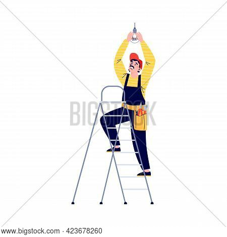 Electrician Changing Electric Light Bulb, Flat Vector Illustration Isolated.