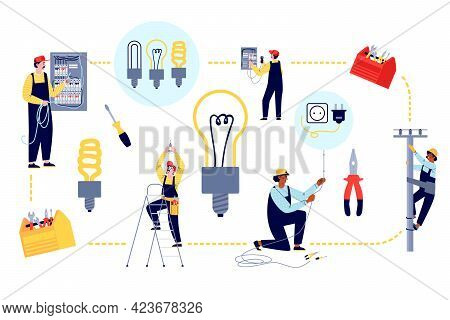 Banner With Electricians Connect Wiring Power Lines, Flat Vector Illustration.