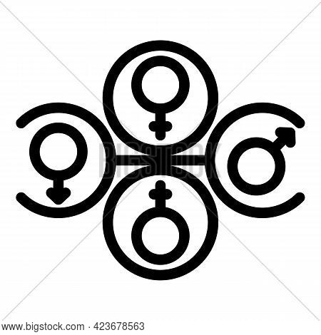 Gender Identity All Icon. Outline Gender Identity All Vector Icon For Web Design Isolated On White B