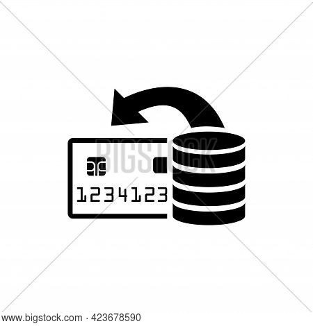 Replenishment Of Bank Credit Card. Flat Vector Icon Illustration. Simple Black Symbol On White Backg