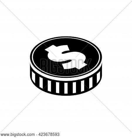 Dollars Money Coin, Gold Cent. Flat Vector Icon Illustration. Simple Black Symbol On White Backgroun