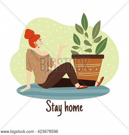 Stay Home Banner With Woman Enjoying Her Rest At Home, Flat Vector Illustration.