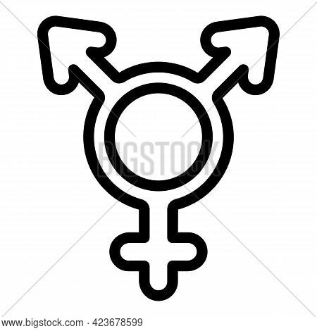 Gender Identity Male Icon. Outline Gender Identity Male Vector Icon For Web Design Isolated On White