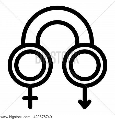 Gender Identity Cis Icon. Outline Gender Identity Cis Vector Icon For Web Design Isolated On White B