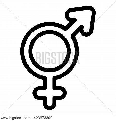 Gender Identity Woman Icon. Outline Gender Identity Woman Vector Icon For Web Design Isolated On Whi