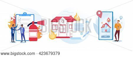 Set Of Guidelines For Fire Alarm Situations. House On Fire. Male Character Is Using Fire Alarm Appli