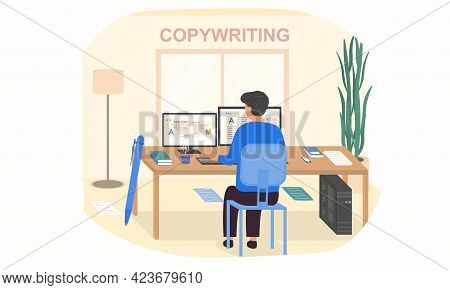 Young Male Character Is Working As A Copywriter In The Office. Male Content Manager Sitting At Desk