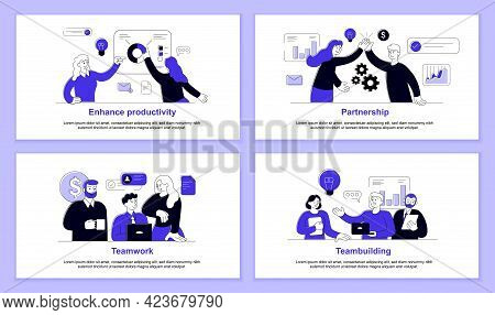Set Of Business Illustration To Enhance Productivity At Work. Concept Of Effective Teamwork And Work