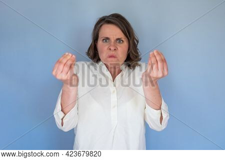 Young Caucasian Woman Doing Italian Gesture With Hand And Fingers Arguing Having Conflict.