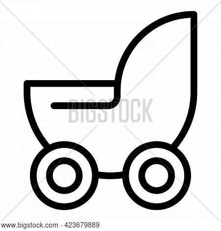 Maternity Pram Icon. Outline Maternity Pram Vector Icon For Web Design Isolated On White Background