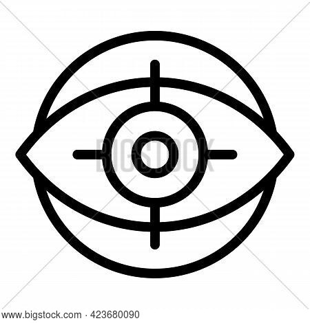 Eye Search Engine Icon. Outline Eye Search Engine Vector Icon For Web Design Isolated On White Backg