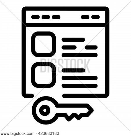 Key Search Engine Icon. Outline Key Search Engine Vector Icon For Web Design Isolated On White Backg
