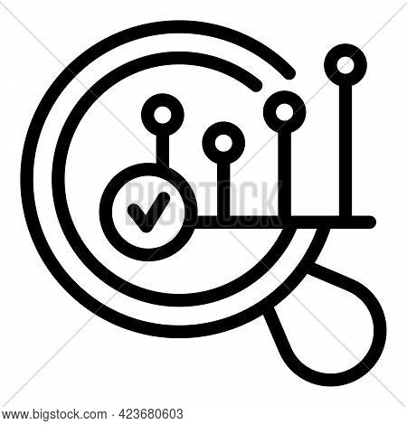 Graph Search Engine Icon. Outline Graph Search Engine Vector Icon For Web Design Isolated On White B