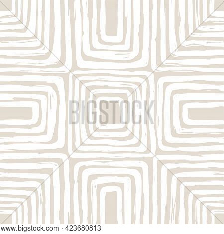 Contemporary Seamless Pattern With Abstract Line In Nude Colors.