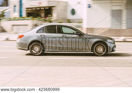 Moscow, Russia - May, 2021: Mercedes-benz C-class W205 At The City Road In Motion. Silver Car Drivin