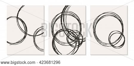 Contemporary Templates With Abstract Shapes Modern Mid Century Boho Style.