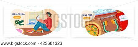 Social Phobia Landing Page Design, Website Banner Vector Template Set. Social Anxiety Disorder.