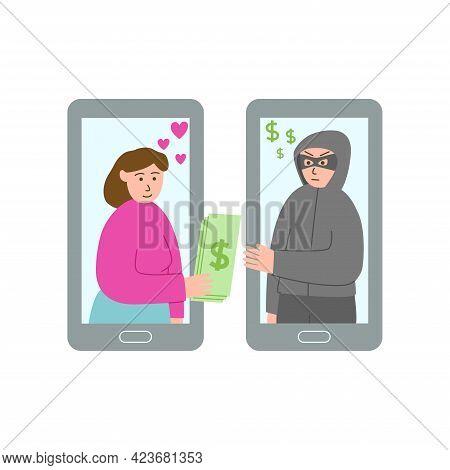 Online Dating Scam Concept. Vector Illustration. Victim And Masked Swindler.