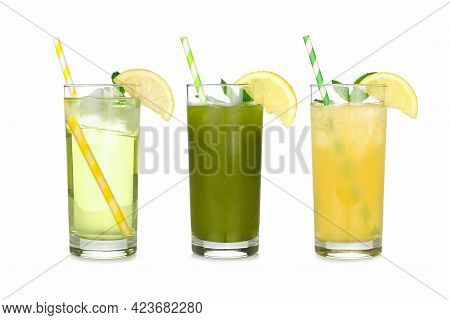 Group Of Summer Iced Green Teas In Glasses With Paper Straws Isolated On A White Background. Iced Gr