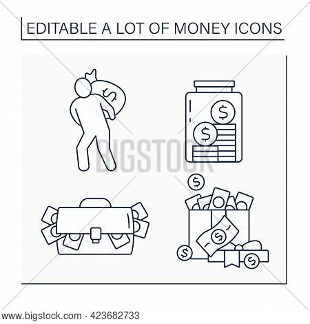 Money Line Icons Set. Bank Robbery, Cash In Present Box, Bag And Glasses Jar. Global Economy. Invest