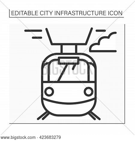 Tram Line Icon. Transport Connected To Electrical Lines. Fast Electric Transportation. Outline Drawi