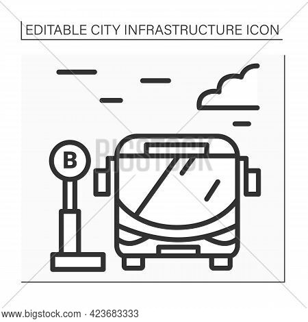 Bus Stop Line Icon. Bus Waiting For Passengers Outside. Urban And Suburban Transit. Outline Drawing.