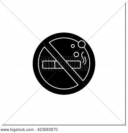 No Smoking Symbol Glyph Icon. Forbidden To Smoke. Stop Smoking. Public Place Navigation. Universal P