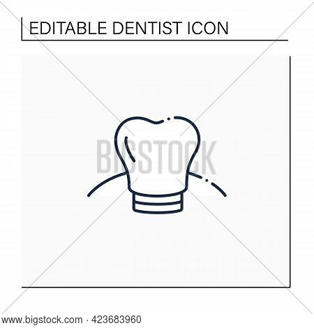 Oral Implantology Line Icon. Cosmetic Dentistry Procedures Include Dental Implants, Dental Crowns, T