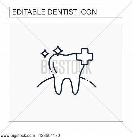 Oral Health Line Icon. Healthy Tooth With Perfect Smile. Good Care Concept. Aesthetic Overall Health