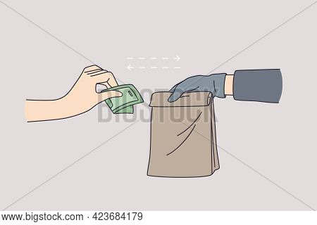 Delivery During Coronavirus Epidemic Concept. Couriers Hand In Latex Gloves Holding Paper Bag With F