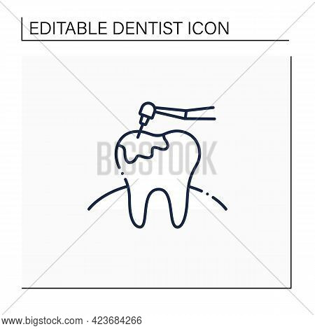 Caries Treatment Line Icon. Oral Surgeons Specialize In Dental Caries. Root Canal Treatment. Healthc