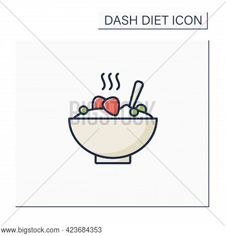 Porridge Bowl Color Icon. Healthy Meal, Diet Food. Grain With Fruits For Breakfast. High Health Care