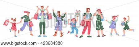 Happy People Adults And Kids Going Shopping. Buyers Or Customers, Shoppers Carrying Shopping Bags, C