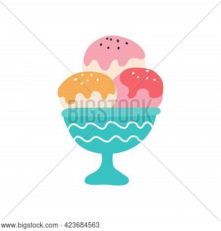Ice Cream Balls With Frosting In A Creamer. Vector Flat Image. Decorative Element For Posters, Postc