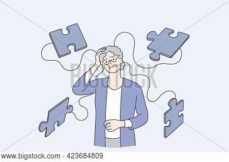 Alzheimer Illness Disease Patients Concept. Senior Mature Woman Cartoon Character Suffering From Bra
