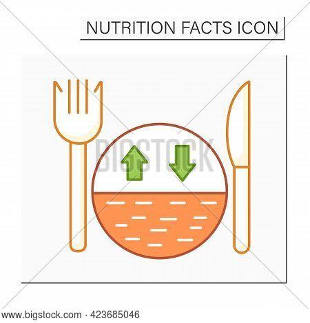 Serving Size Color Icon. Portion Control. Healthy, Balanced Nutrition.diet.calorie Count. Nutrition