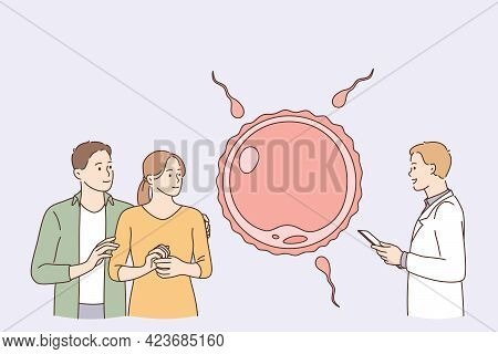 Human Reproduction, Children Planning Concept. Young Positive Loving Couple Cartoon Characters Stand