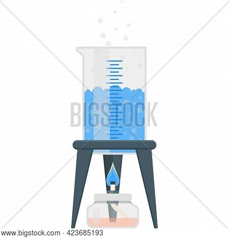 Chemistry Experiment Water Evaporation Vector Isolated On White