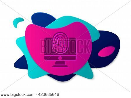 Color Monitor With Fingerprint Icon Isolated On White Background. Id App Icon. Identification Sign.