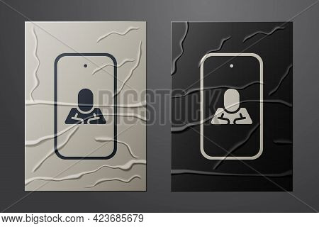 White Online Psychological Counseling Distance Icon Isolated On Crumpled Paper Background. Psychothe