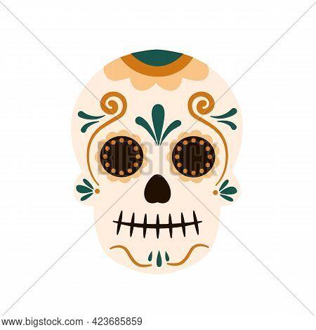 Mexican Traditional Sugar Skulls And Colorful Flowers. Dia De Los Muertos Concept. Vector Stock