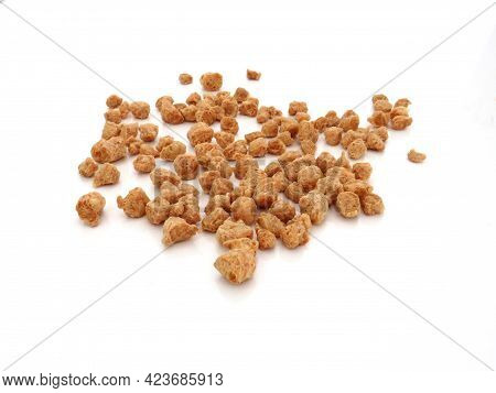 Bulk Coarse Textured Soybeans On White Background. Legume And Vegetarian Food. Close Up Of Vegetable