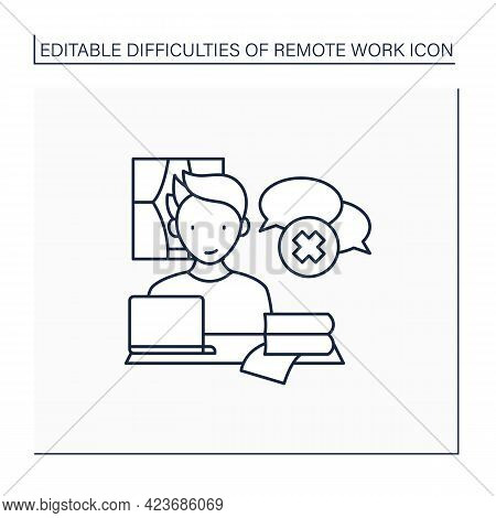 Remote Work Line Icon. Lack Of Spontaneous Conversations. Concentrate Only On Work. Career Difficult