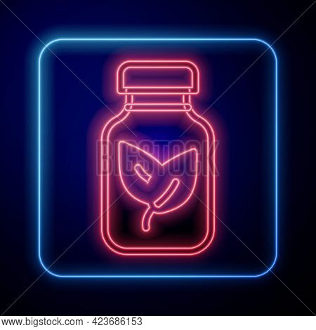 Glowing Neon Fertilizer Bottle Icon Isolated On Black Background. Vector
