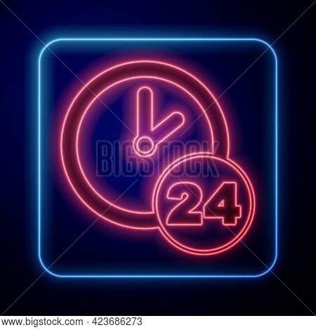 Glowing Neon Clock 24 Hours Icon Isolated On Black Background. All Day Cyclic Icon. 24 Hours Service