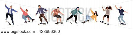 Set Of Diverse People Riding A Skateboard. Colored Flat Vector Illustration Of Skateboarders In Diff