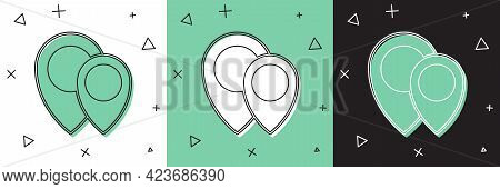 Set Map Pin Icon Isolated On White And Green, Black Background. Navigation, Pointer, Location, Map,