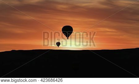 Cappadocia, Turkey - August 2017: Silhouettes Of Hot Air Balloons Flying In Cappadocia Landscape Wit