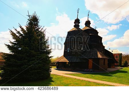 Scenic Landscape View Of Ancient Wooden Church Of The Ascension Built In The Early Eighteenth Centur